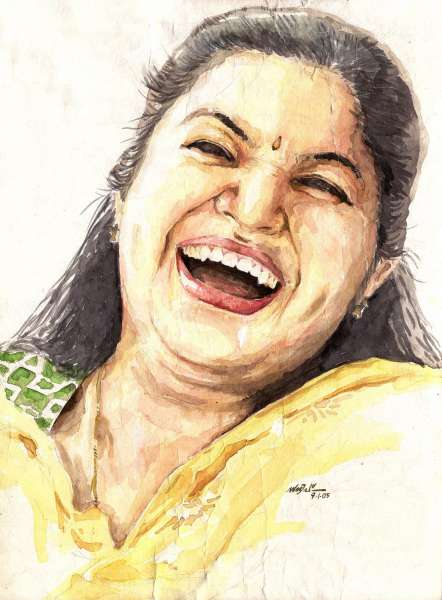 KS Chithra by artist Sandeep VC