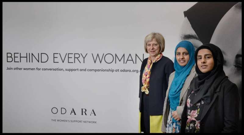 Home Secretary Theresa May attending the event in Birmingham