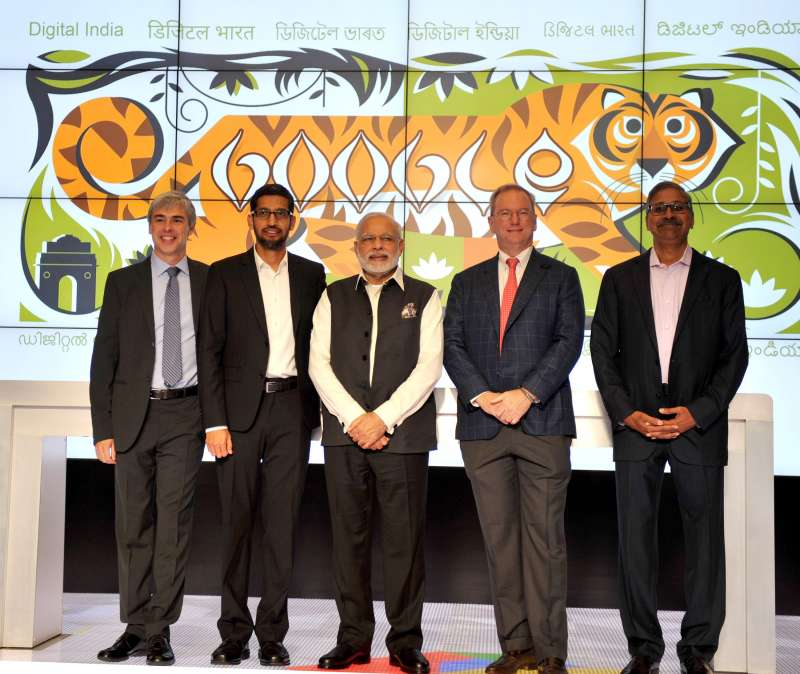 Modi in a group photograph with the Google Officials at Google (Alphabet) campus, in Silicon Valley, California 1
