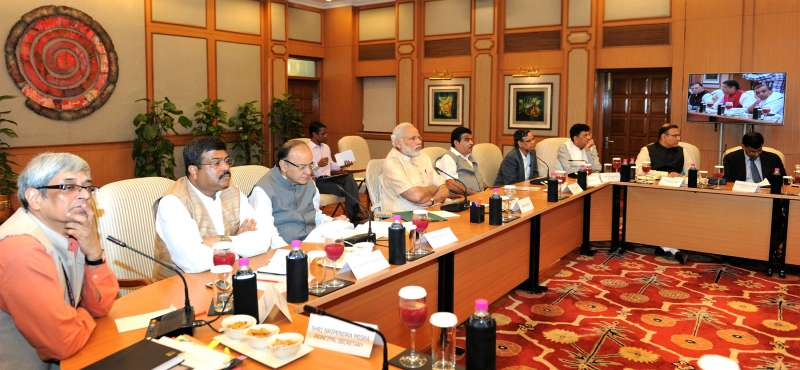 Prime Minister Narendra Modi  with union ministers, corporate heads and economists to discuss global markets' turmoil sparked off by the Chinese economic slowdown