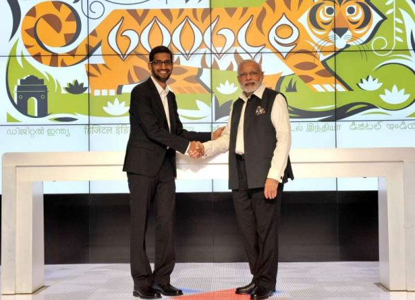 Modi with the CEO, Google, Mr. Sundar Pichai, during his visit to Google (Alphabet) campus, in Silicon Valley, California 1
