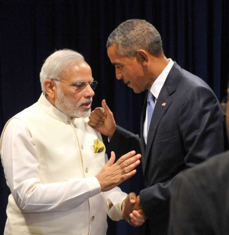 Modi with President  Barack Obama in New York
