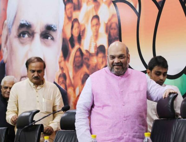 India's ruling party BJP's leader Amit Shah at a press conference