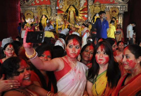 Women participate in Sindur-khel in New Delhi