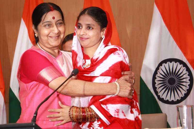 Indian External Affairs Minister Sushma Swaraj with Geeta