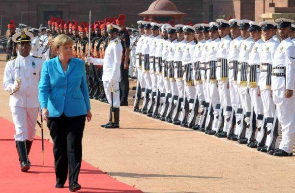 German Chancellor Dr. Angela Merkel inspecting the Guard of Honour, at the Ceremonial Reception, at Rashtrapati Bhavan, in New Delhi