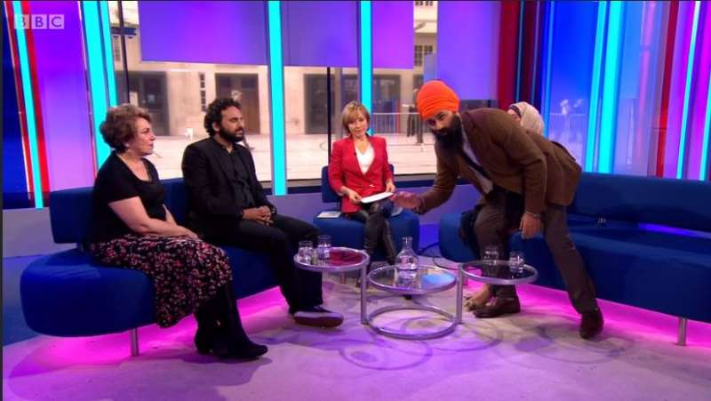 Jagmeet Singh of Sikhi interrpts the  the BBC show