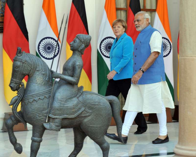 Modi with German Chancellor Dr. Angela Merkel at Hyderabad House in New Delhi