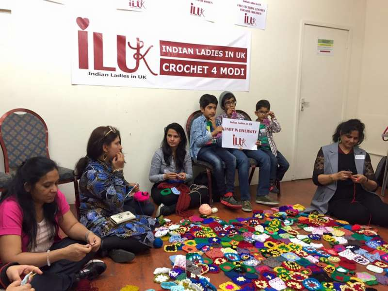 Members of UK-based group 'Indian Ladies in UK' are putting together a crochet blanket - named the 'Unity in Diversity' blanket - to mark Mr Modi's visit to Britain