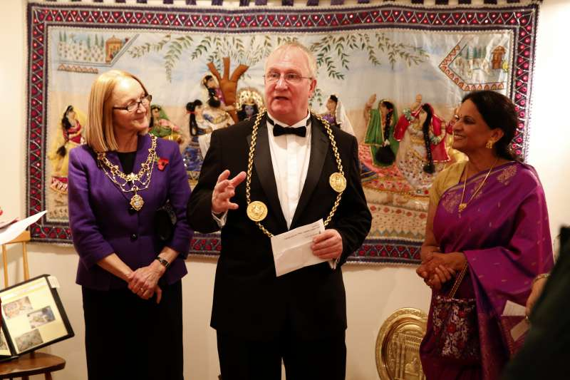 Mayor of South Tyneside Cllr Richard Porthouse with Mayoress Patricia Porthouse and Chair of Sangini, Sreelekha Reddy