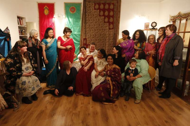 Members of Sangini joined by staff from Sunderland University, Arts Centre Washington, Visual Arts in Rural Communities, Hindu Nari Sangh.