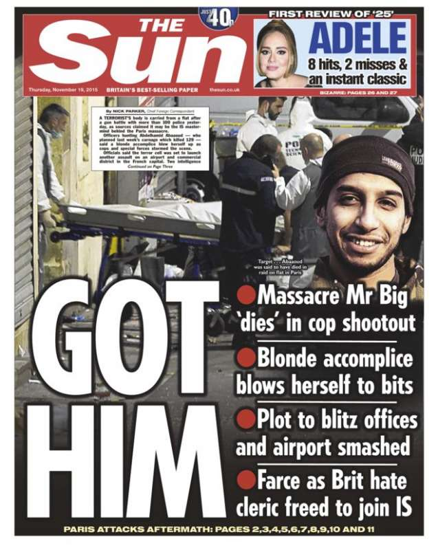 Front pages from London newspapers - Paris raid coverage