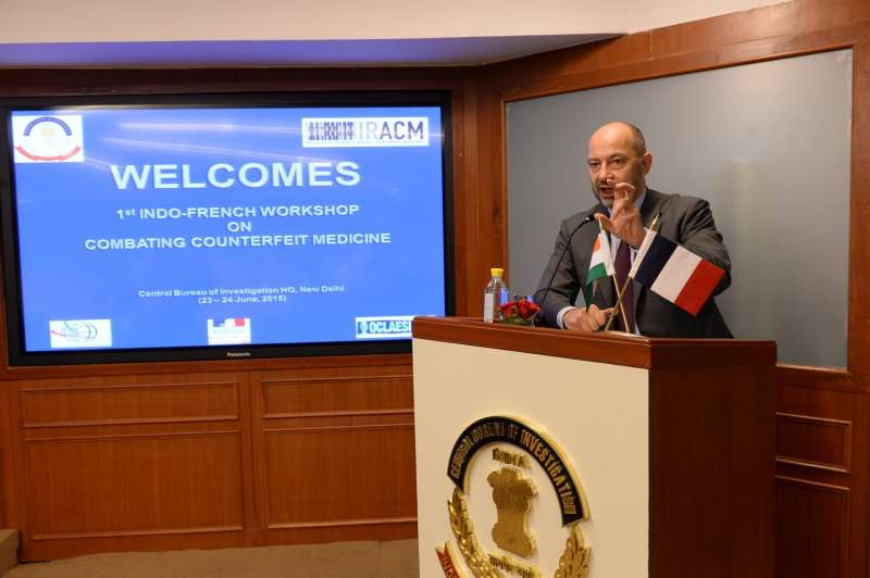 French Ambassador to India Francois Richier addresses during the inauguration of the Indo-French workshop on ``Combating Counterfeit Medicine`` in New Delhi (File)