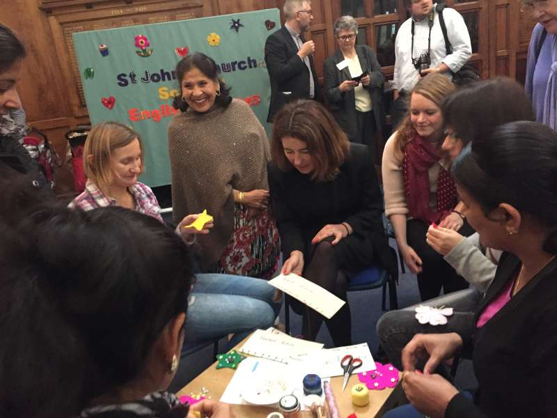 Baroness Williams takes part in sewing lessons at Luton