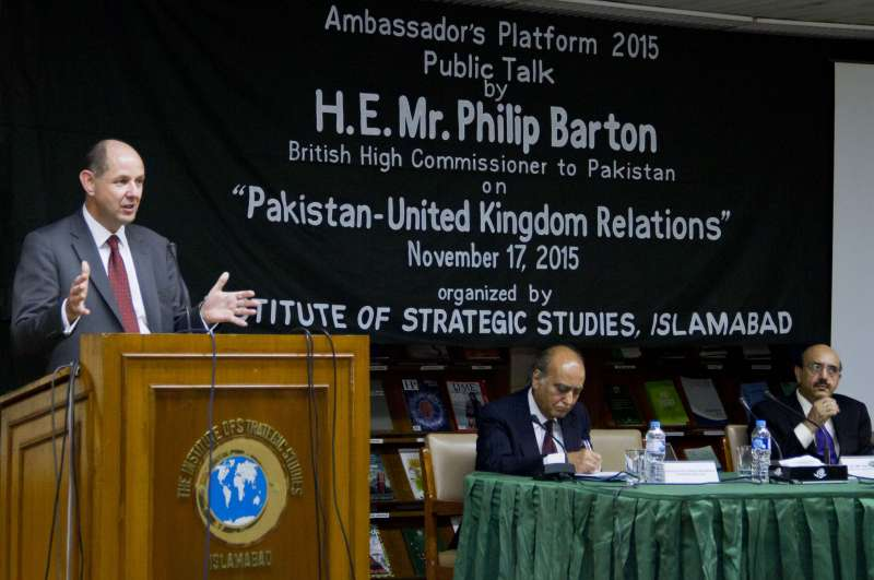 British High Commissioner to Pakistan, Mr. Philip Barton CMG OBE at the Institute of Strategic Studies (ISSI)  function