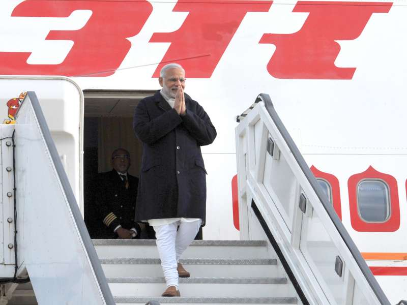Modi arrives at Heathrow International Airport, in London 5