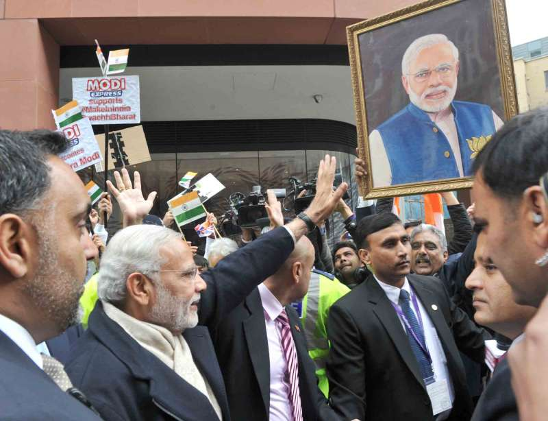 Modi arrives at Hotel St. James' Court, Taj Group, London, greets supporters