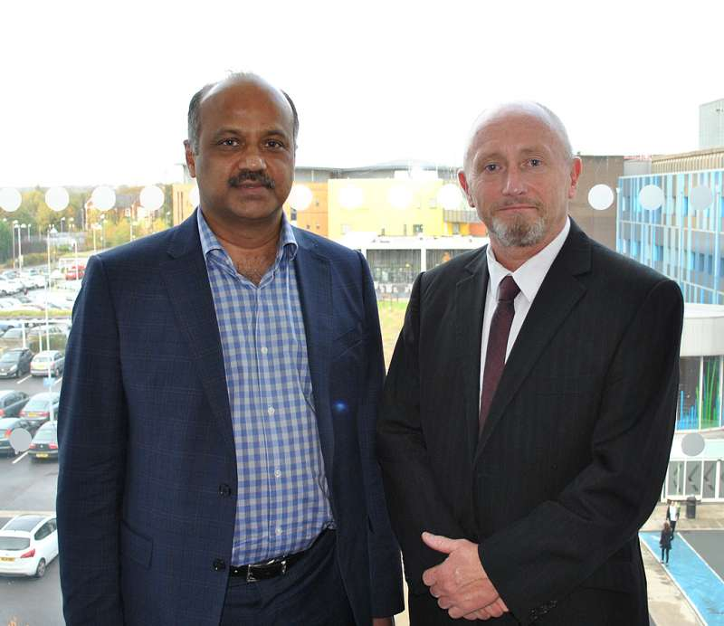 Mr Siba Senapati, Consultant Bariatric Surgeon at Salford Royal and Mr Jack Carney, former principal of The Manchester College and voluntary athletic coach