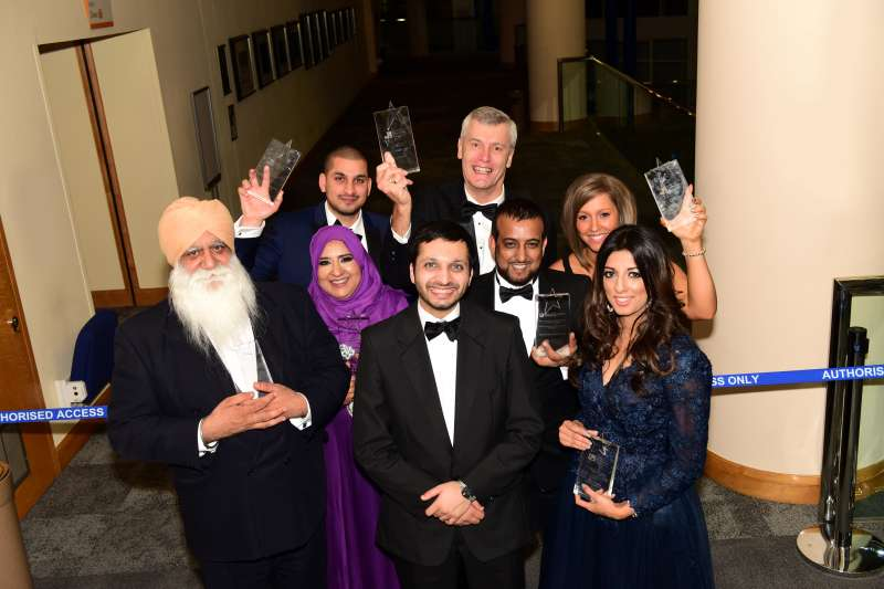Winners all: Recipients of awards at the Asian Business Chamber of Commerce dinner attended by 550 guests at the International Convention Centre, Birmingham,on Saturdaynight. President Saquib Bhatti is front centre