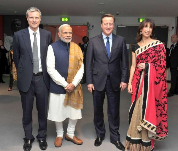 Zac Goldsmith, the Conservative candidate for London Mayor, Modi, Camerons, Samantha Cameron at Wembley