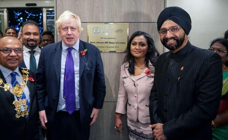 London Mayor Boris Johsnon with Dr Manpreet Gulati, CEO LycaHealth, Subaskaran Allirajah, Chairman of Lyca Group, Prema Subaskaran, Chairperson, LycaHealth and others