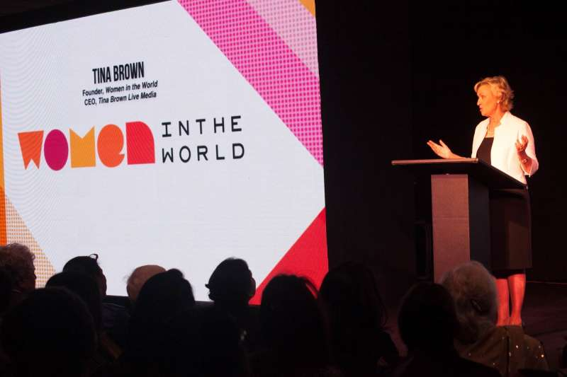Renowned media personality, and founder of the Women in the World summit Tina Brown addresses during the Women in The World Summit in New Delhi