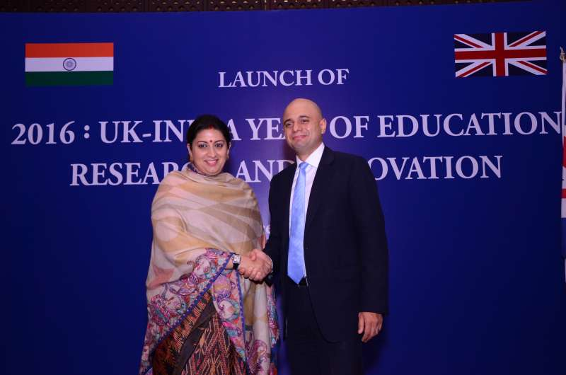 Sajid with Indian Human Resources Minister Smriti Irani announcing the '2016 UK-India Year of Education Research and Innovation (UKIERI)