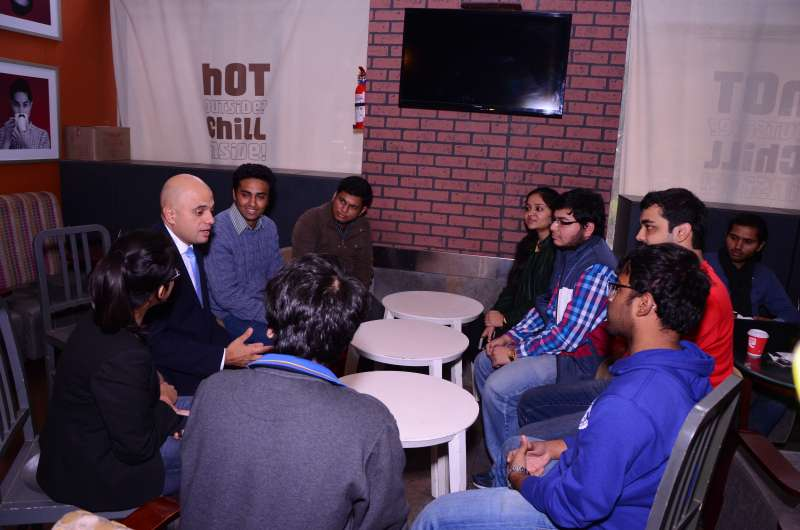 Sajid interacting with the students