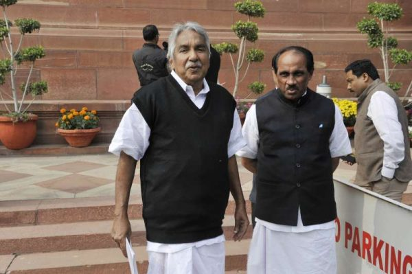 Kerala Chief Minister Oommen Chandy and minister Babu at the Parliament in New Delhi