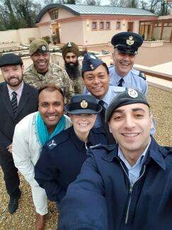 SELFIE TIME: A 'selfie' taken by One Voice Group Members outside the Anoopam Mission Temple