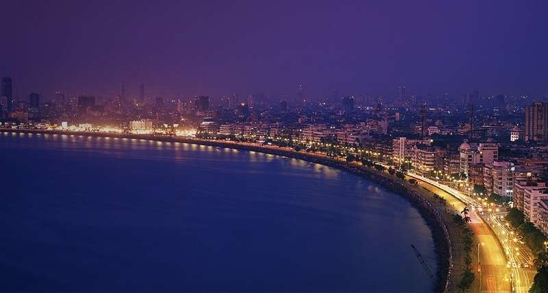 Marine Drive today-Evening view from south side Nariman point to north