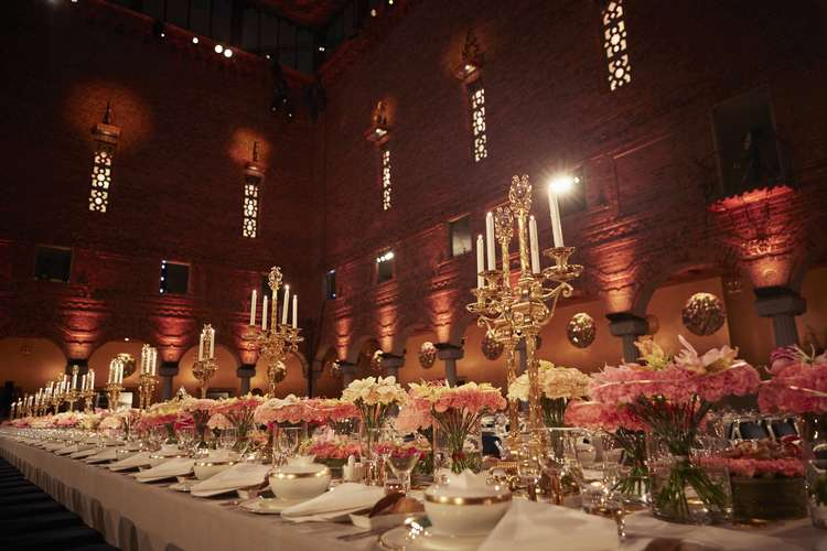 2015 Nobel Banquet flower decorations by florist Per Benjami. Copyright © Nobel Media AB 2015. Photo: Dan Lepp.