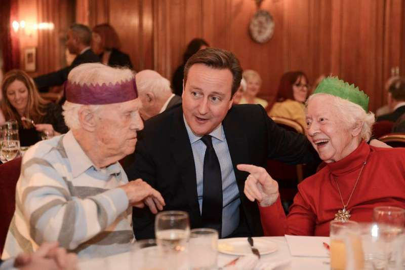 Prime Minister David Cameron hosts a dinner for older people at Downing Street aimed to raise awareness of loneliness amongst older people at Christmas time