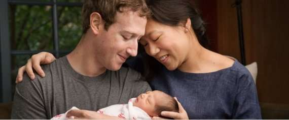 Facebook CEO Mark Zuckerberg and his wife Priscilla Chan and the new born
