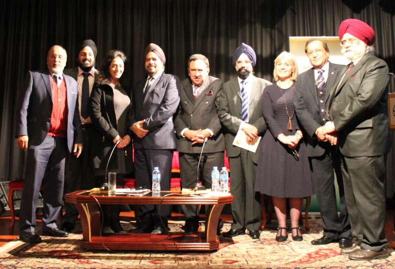 Executive Members of the British Sikh Association[left to right]: Mr Hardip Singh, Dr Peter Chadha, Mrs and Mrs Ravi Gidar and The Panel: The Lord Sheikh of Cornhill,  Dr Sukhbir Kapoor OBE, Ms Laura Marks, Dr Rami Ranger MBE, FRSA and  Mr. Hardyal Luther