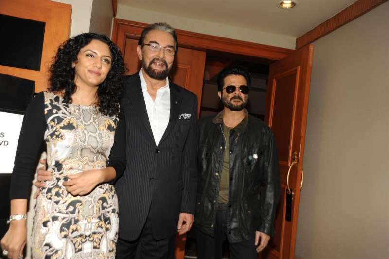 Actor Kabir Bedi with his wife Parveen Dusanj and Anil Kapoor during the DVD launch of European TV show Sandokan in Mumbai