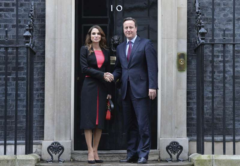 Prime Minister David Cameron met with Queen Rania of Jordan at 10 Downing Street. They spoke about about the Syrian humanitarian crisis and the Syria Pledging Conference
