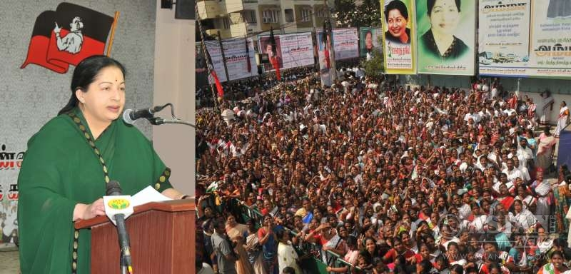 Chief Minister Jayalalitha addressing a party meeting