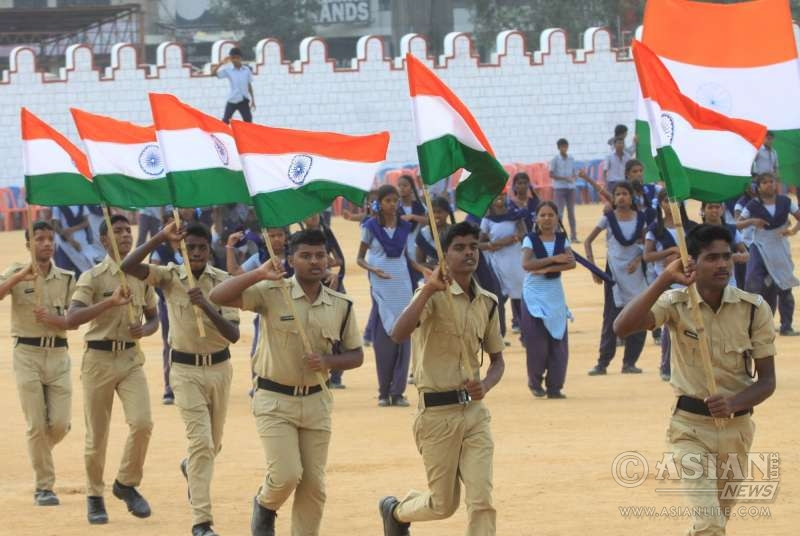 Children rehearsing for the Republic Day parade in India