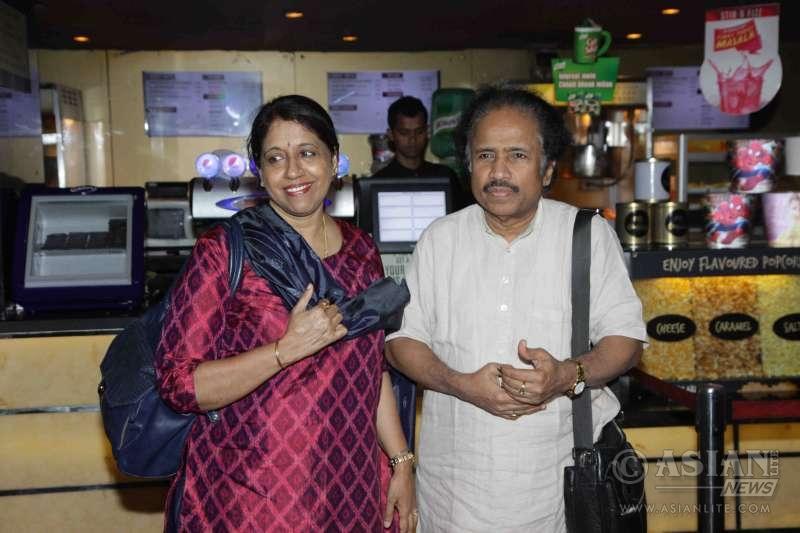 Singer Kavita Krishnamurthy along with her husband L Subramaniam during the launch of book on film Gour Hari Dastan - The Freedom File in Mumbai
