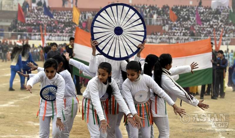 Children rehearsing for the Republic Day Parade