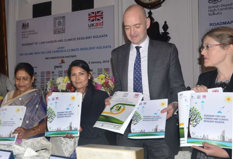 Union Minister of State for Employment of UK, Priti Patel and others at the launch of road map of low-carbon and climate-resilient Kolkata strategy document at KMC in Kolkata