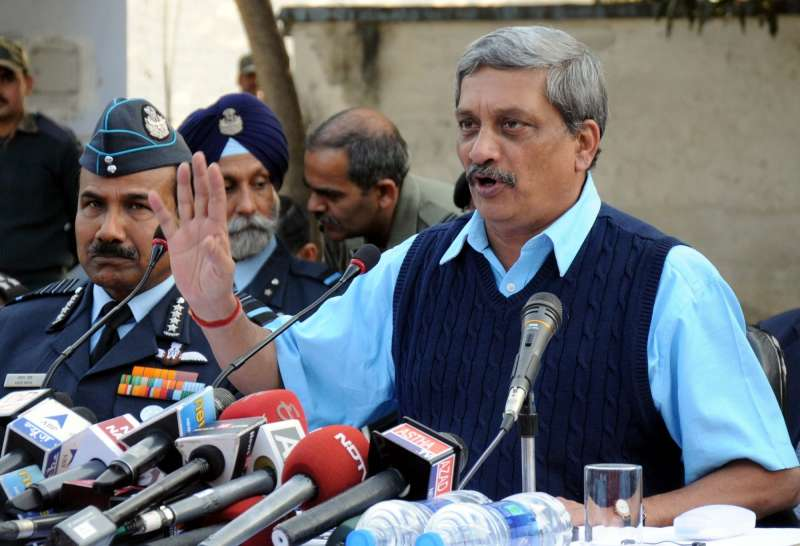Union Defence Minister Manohar Parrikar addresses a press conference in Pathankot. Also seen Air Chief Marshal Arup Raha