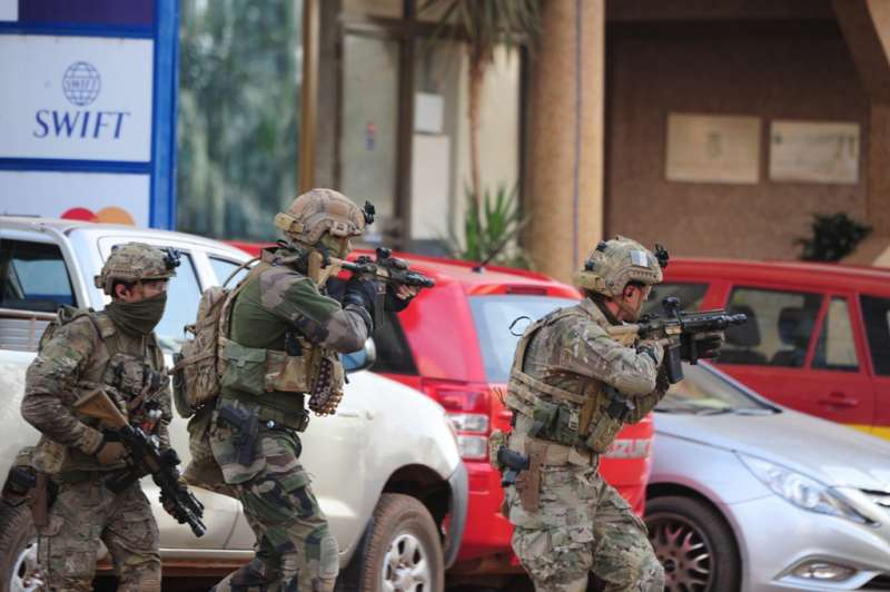 Soldiers of France and United States attend rescue campaign in Burkina Faso's capital Ouagadougou,