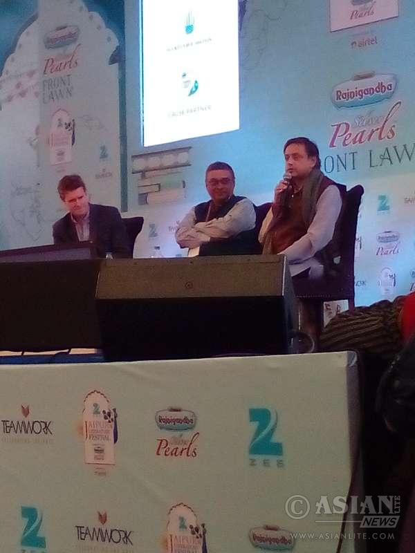 British historian and MP Tristram Hunt (left) and Congress leader Shashi Tharoor debate the effects and legacies of the British Empire at the Jaipur Literature Festival.