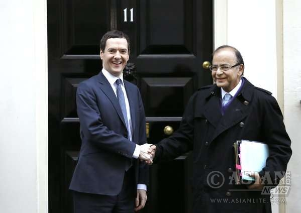Indian Finance Minister Arun Jaitley with Chancellor George Osborne at No 11 Downing Street  in London