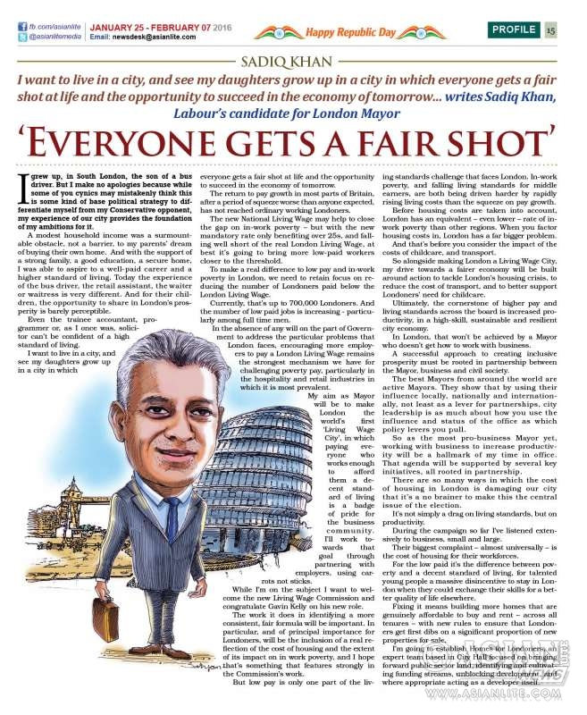 Asian Lite story on Sadiq Khan