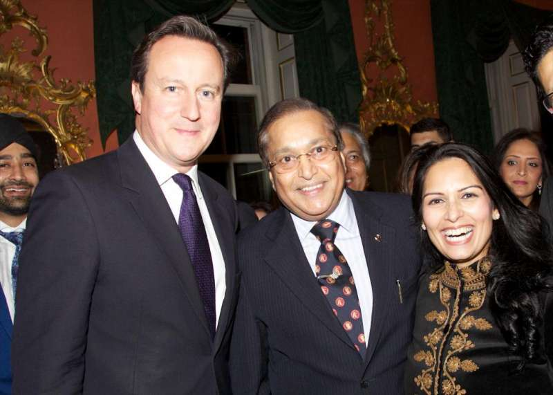Prime Minister David Cameron, Dr Rami Ranger and Priti Patel MP