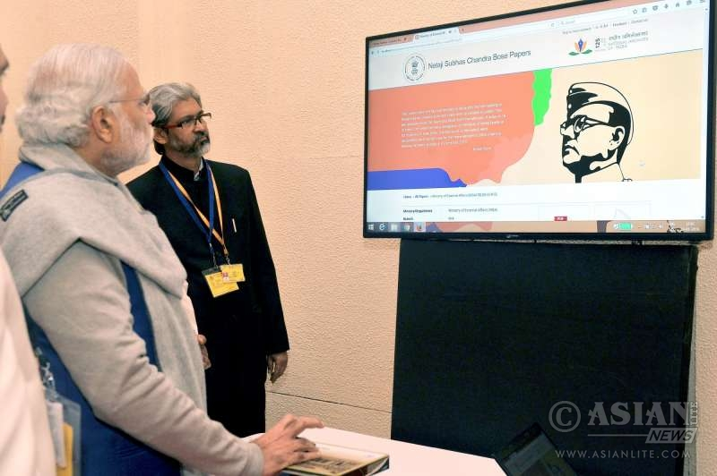 Prime Minister Narendra Modi at the National Archives launching  the digitised files related to Netaji, in New Delhi
