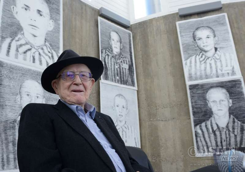 The producer of the Oscar Award film Schindler List, Branko Lustig attends the news conference for the exhibition Drawing Against Oblivion in Zagreb, capital of Croatia, Jan. 26, 2016. The exhibition of works by Austrian painter Manfred Bockelmann, displaying portraits of the 60 children killed in Nazi death camps, mostly Auschwitzby, will be opened on International Holocaust Remembrance Day, Jan. 27, 2016.